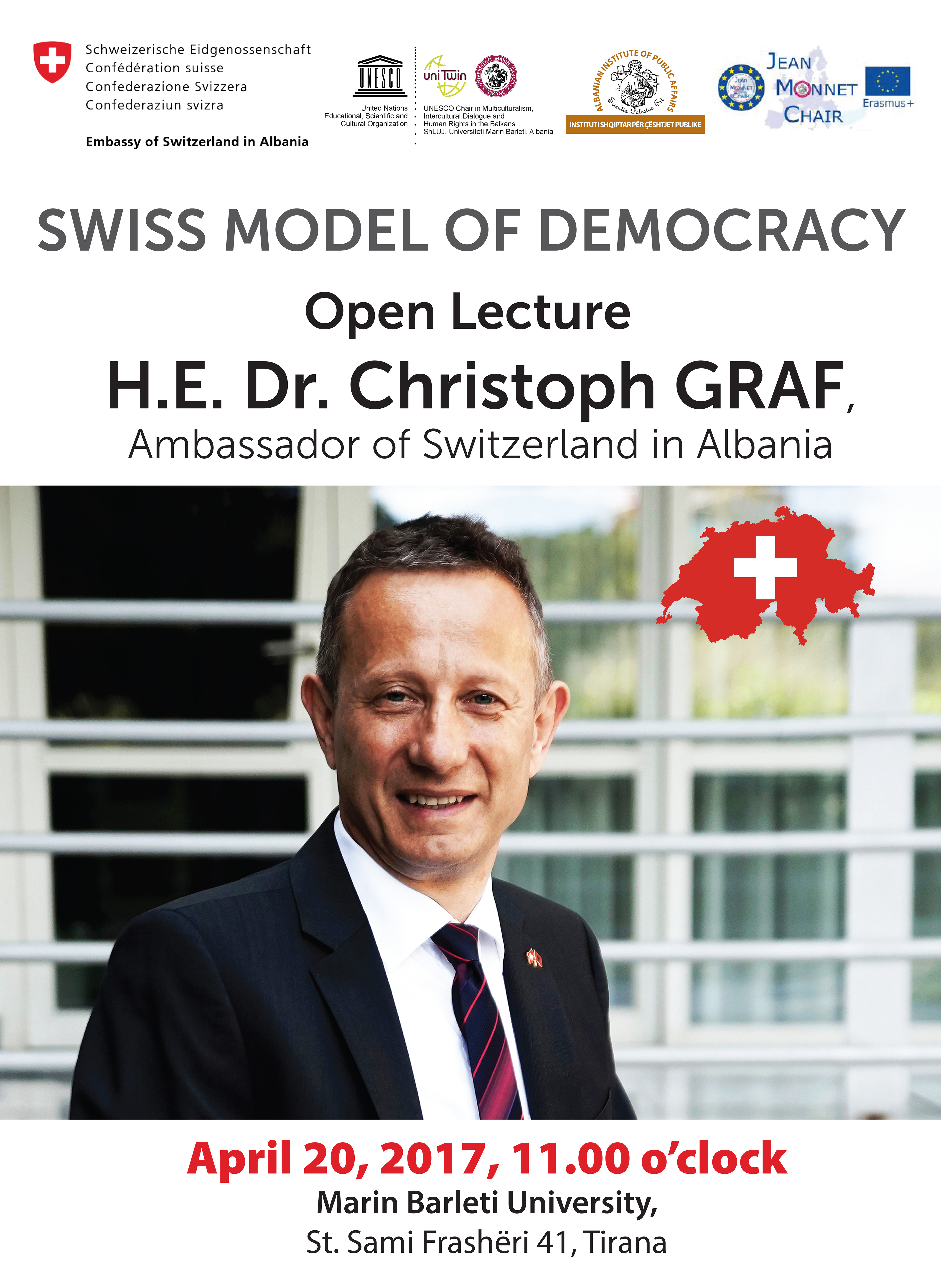 "Leksion i hapur mbi ""Direct Democracy in Practice – a Swiss Perspective""."