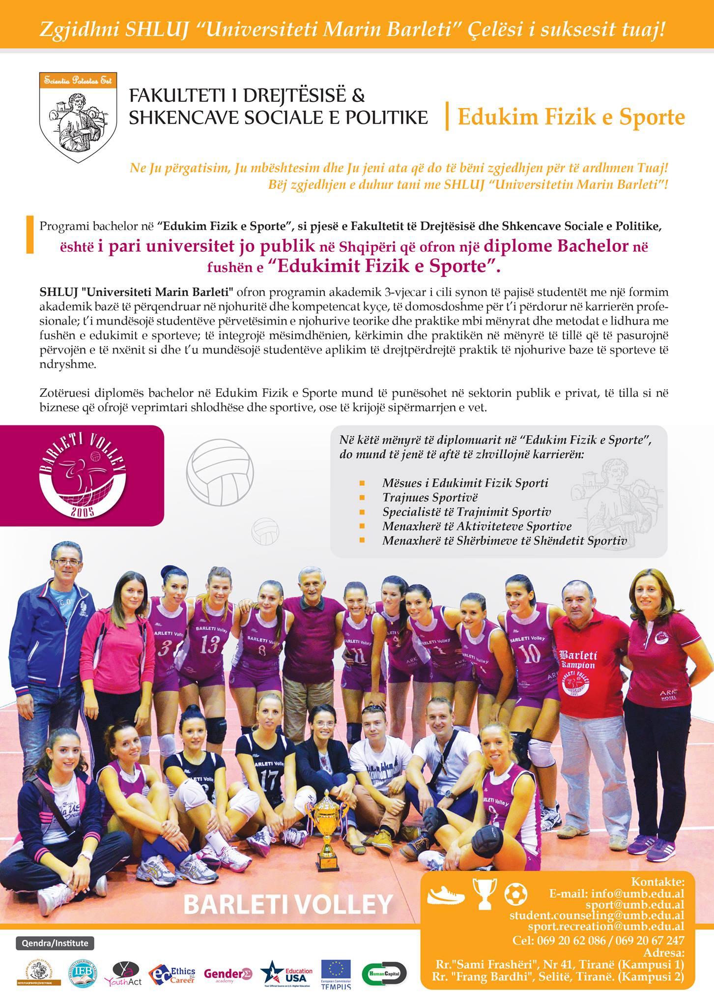Njoftim për konkursin e pranimit në degën Edukim Fizik dhe Sporte