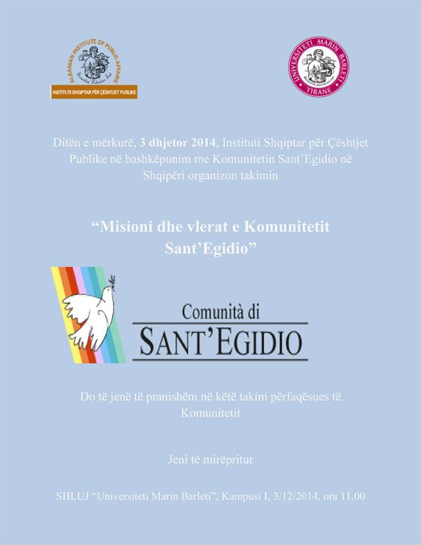 Misioni dhe vlerat e Komunitetit Sant'Egidio