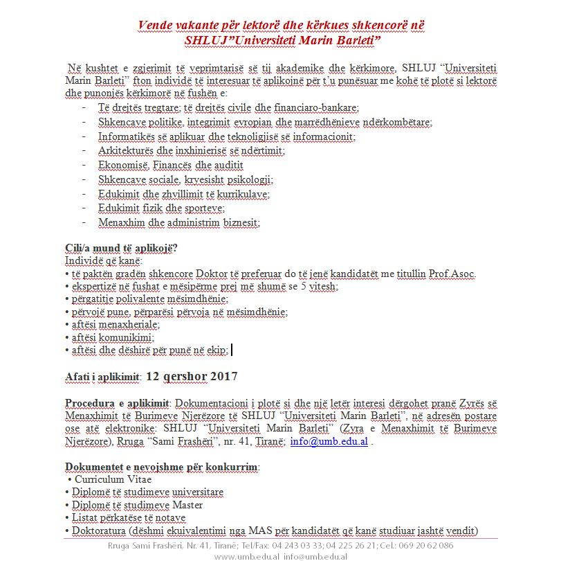 Shpallje për vende vakante, staf akademik dhe kërkues shkencorë