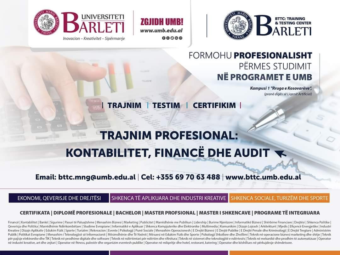 Trajnim praktik-profesional në: Kontabilitet, Financë dhe Audit