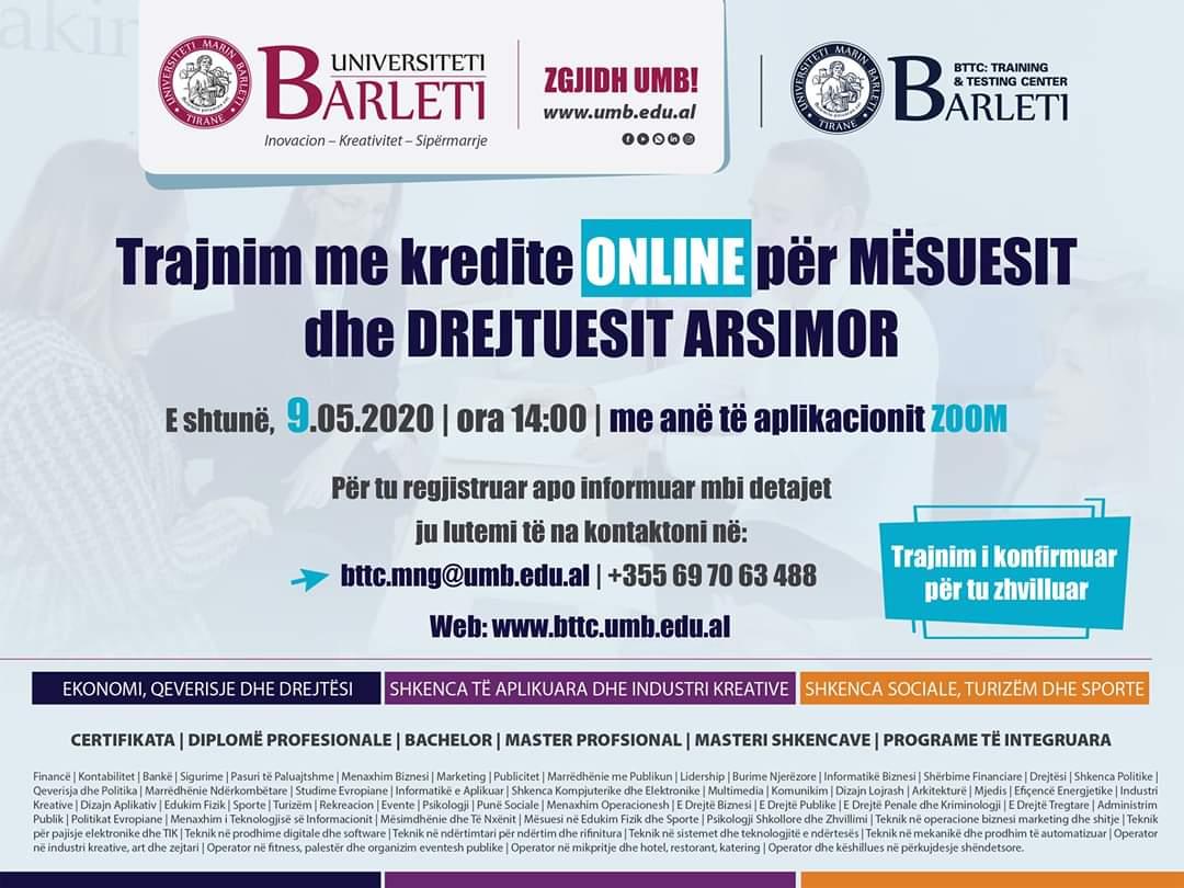 Trajnim me kredite ONLINE për Mësuesit dhe Drejtuesit Arsimor