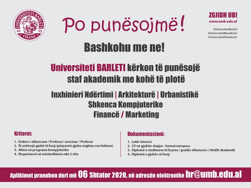 Universiteti BARLETI kërkon të punësojë staf akademik efektiv me kohë të plotë.