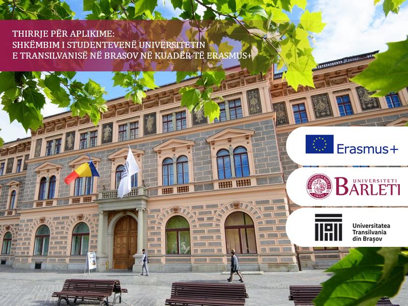 SHKËMBIM I STUDENTEVENË UNIVERSITETIN E TRANSILVANISË NË BRASOVNË KUADËR TË ERASMUS+