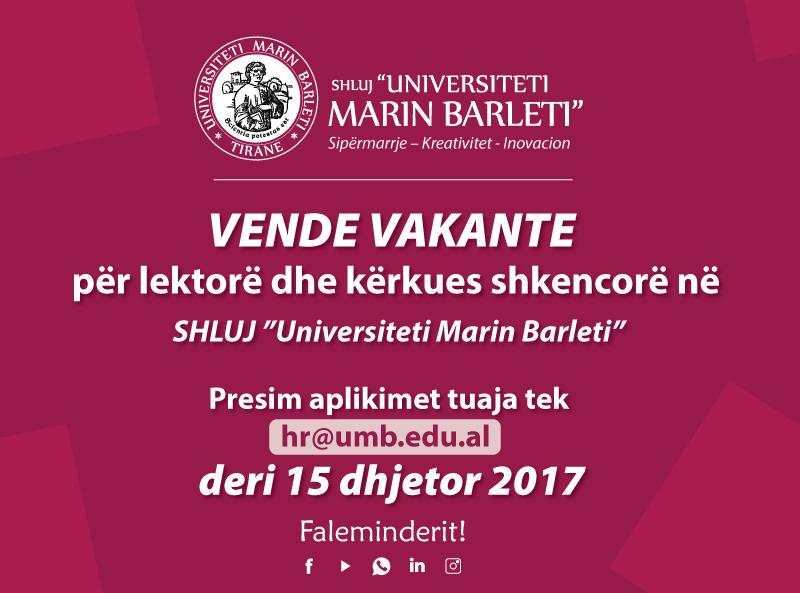 """Vende vakante për lektorë dhe kërkues shkencorë në  SHLUJ""""Universiteti Marin Barleti"""""""