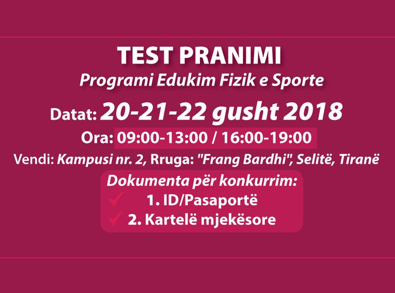"""Konkursi i pranimit për studentë të vitit të parë në """"Edukim fizik dhe sporte�"""