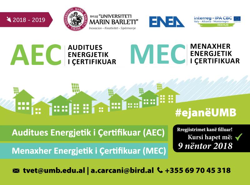 HAPET KURSI I PARË PËR AUDITUES ENERGJETIK TË ÇERTIFIKUAR (AEC) DHE MENAXHER  ENERGJETIK TË  ÇERTIFIKUAR(MEC)