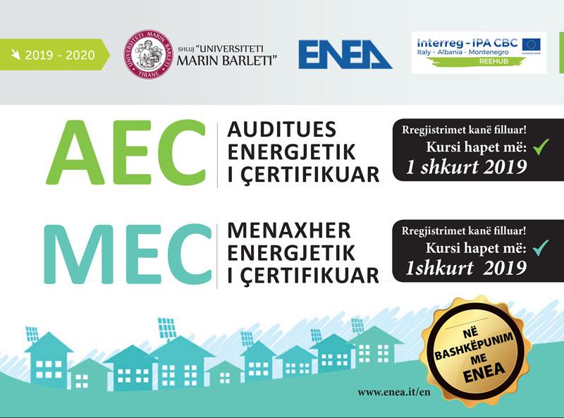 Hapen kurset për Auditues Energjetik të Çertifikuar (AEC) dhe Menaxher Energjetik të Çertifikuar (MEC)