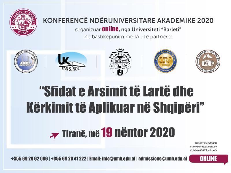 Konferencë Ndëruniversitare Akademike 2020 - Sfidat e Arsimit të Lartë dhe Kërkimit të Aplikuar në Shqipëri