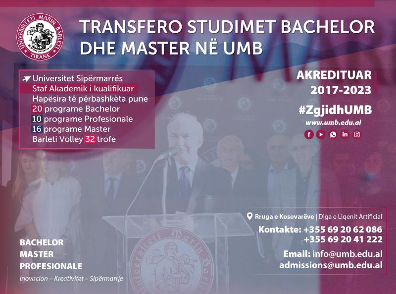 Transfero studimet bachelor dhe master në Universitetin Marin Barleti